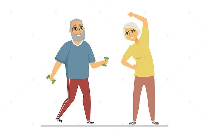 Senior people exercising - flat style illustration