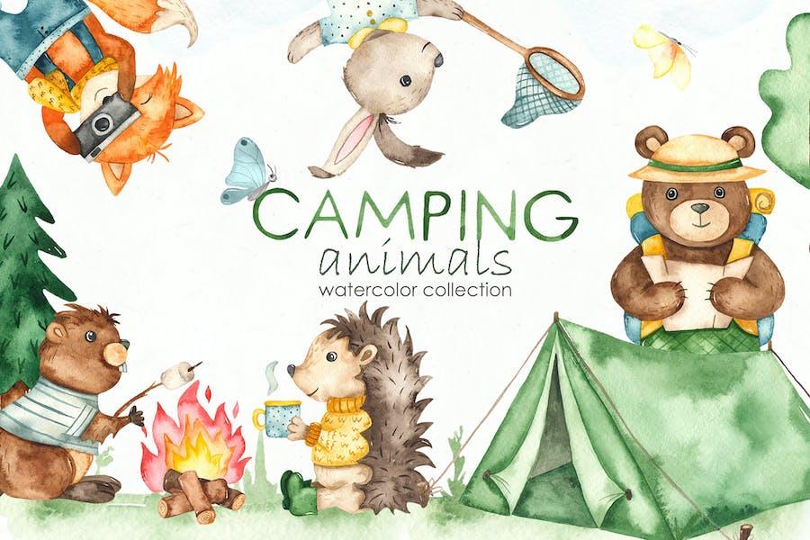 Watercolor Camping animals