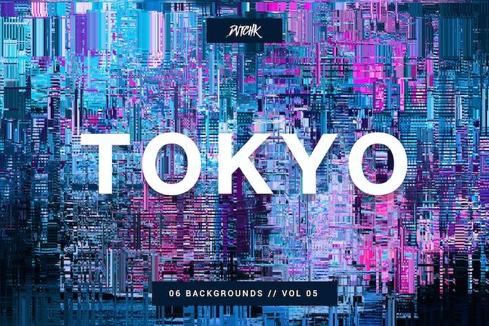 Cover Image For Tokyo| Stadt Glitch Hintergründe | Vol. 05