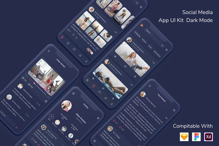 Thumbnail for Social Media App UI Kit Dark Mode