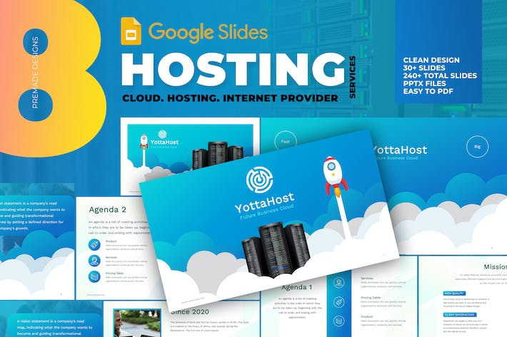 Thumbnail for Hosting Company Profile Google Slide Template