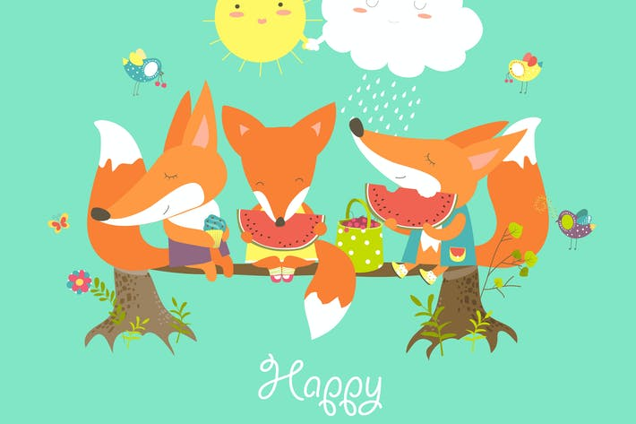 Thumbnail for Cute foxes eating watermelon on a log. Vector