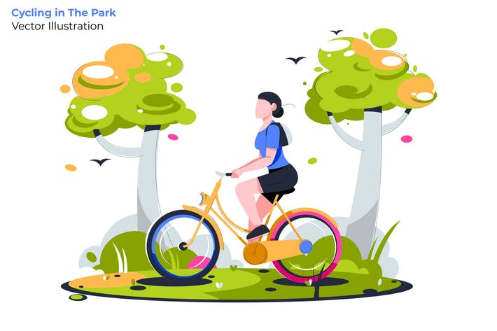 Thumbnail for Cycling in Park - Vector Illustration