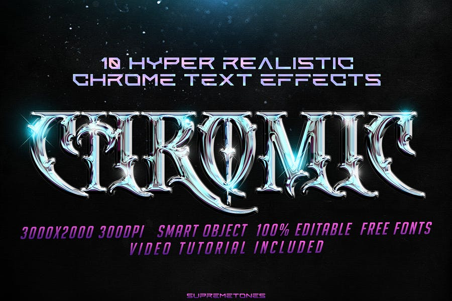 Hyper Realistic 10 Chrome Text Effects