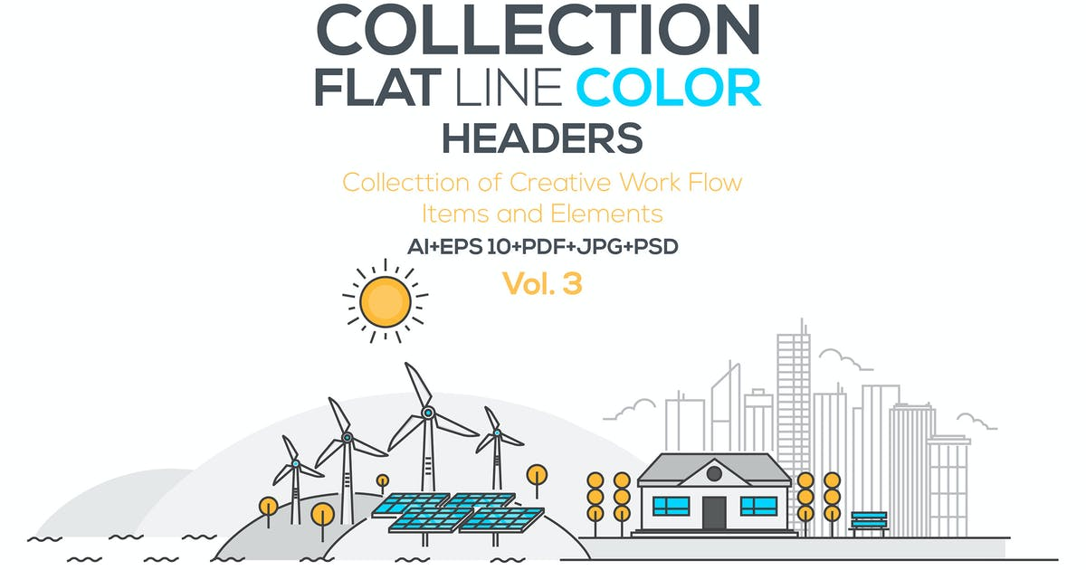Download Set of Flat Line Color Banners by graphics4u