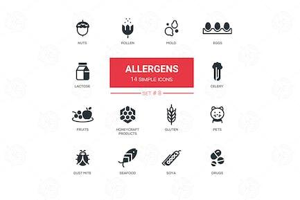 Alérgenos - Íconos Moderno de Diseño de línea delgada Simple