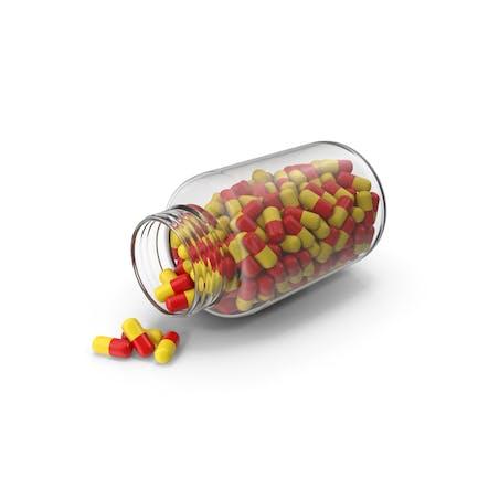 Botella de tableta amarilla roja abierta