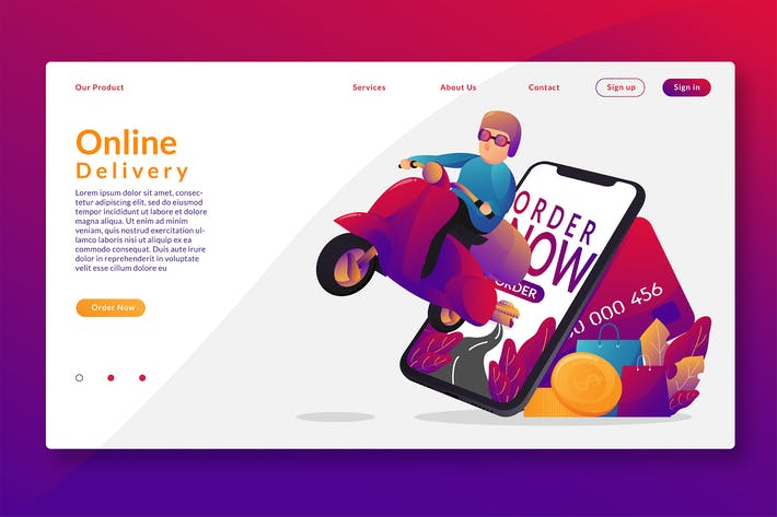 Thumbnail for Online Delivery - Web Header & Vector GR