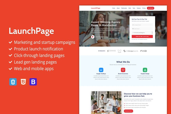 Thumbnail for LaunchPage - Premium HTML Landing Page Template