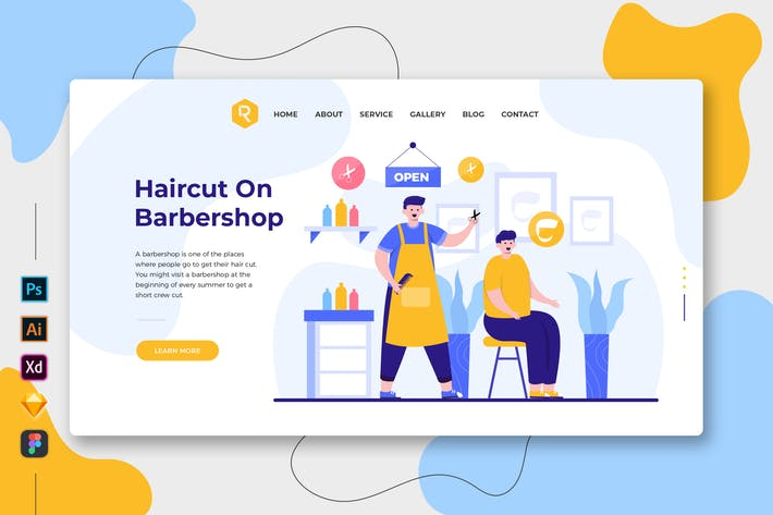 Thumbnail for Haircut On Barbershop - Web & Mobile Landing Page