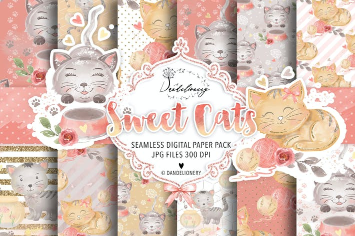 Thumbnail for Sweet Cats digital paper pack