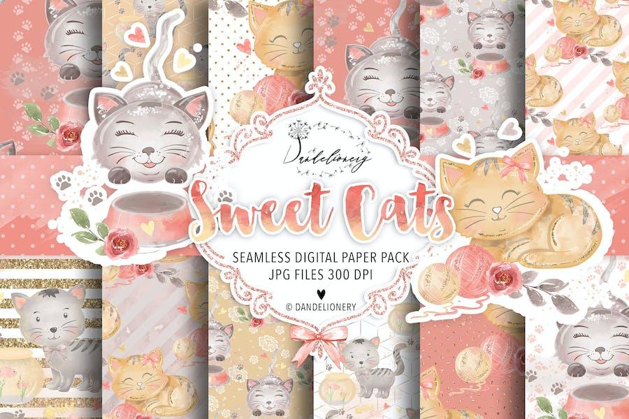 Sweet Cats digital paper pack