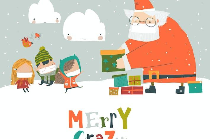 Santa claus wearing a protective mask giving gifts