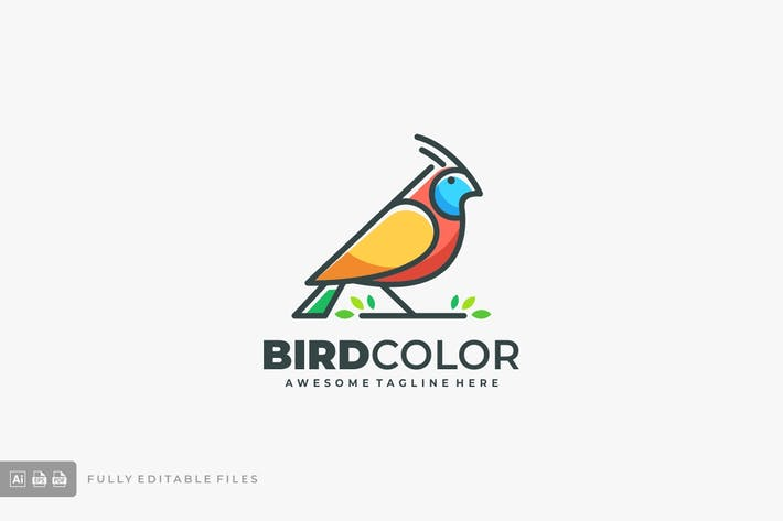 Thumbnail for Bird Color Line Logo Vector Template