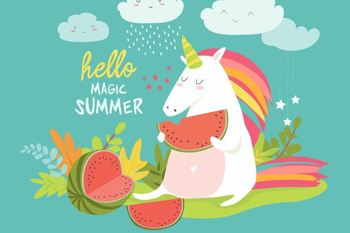 Cute unicorn with watermelon. Hello summer. Vector