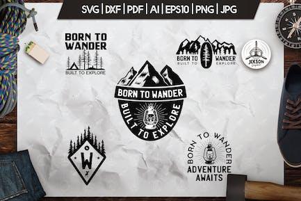 Wanderlust Logos, Retro Camping Badges, TShirt