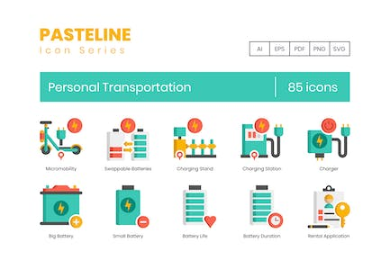 70 Personal Transportation Color Flat Icons