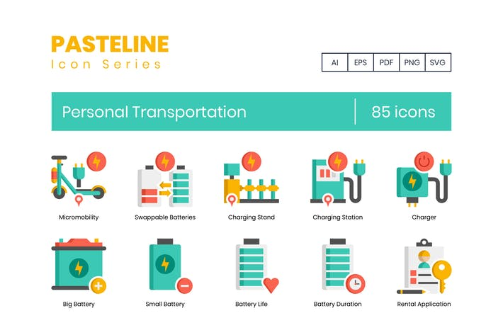 Thumbnail for 70 Personal Transportation Color Flat Icons