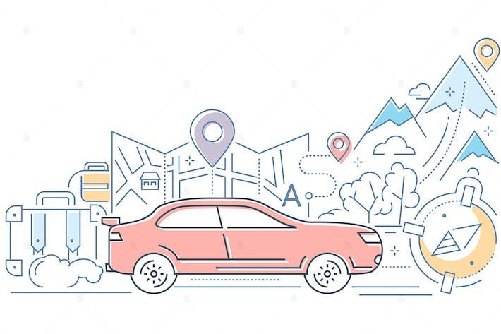 Навигация - иллюстрация стиля современного дизайна линий