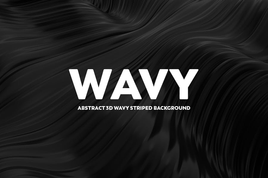 Abstract 3D Wavy Backgrounds - Black Color