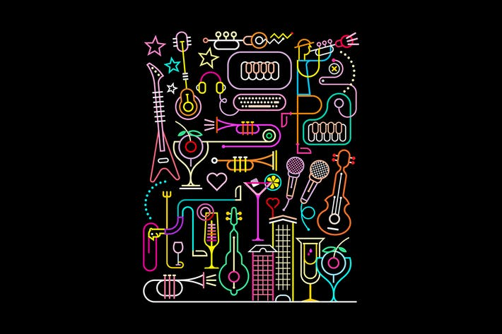 Thumbnail for Karaokel Party Neon Colors Vector Illustration