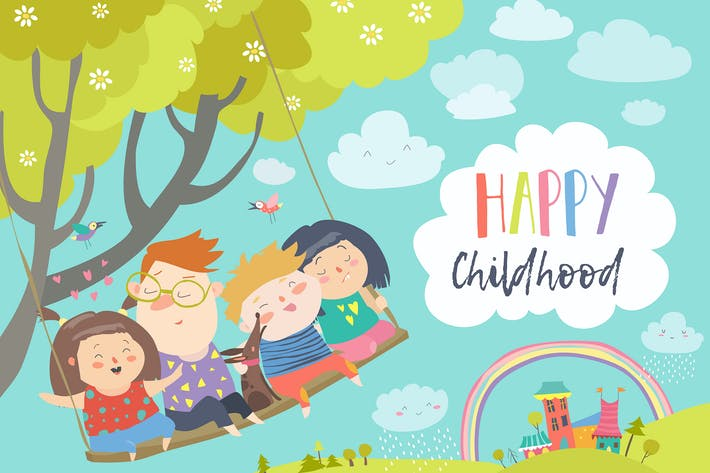 Thumbnail for Happy kids flying on a swing. Vector illustration