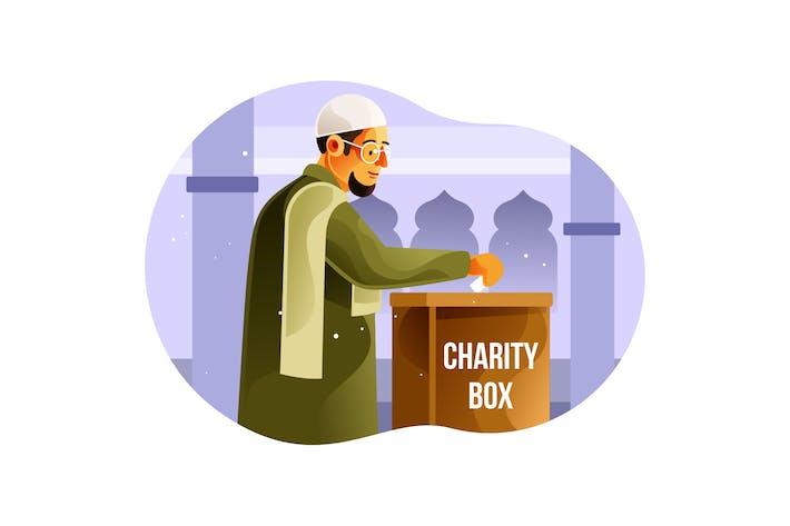 Muslime geben Almosen in der Wohltätigkeitsbox