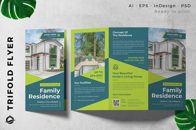 Green Residential Property  Trifold Brochure Flyer