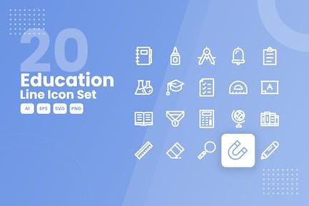 20 Education Line Icon Set