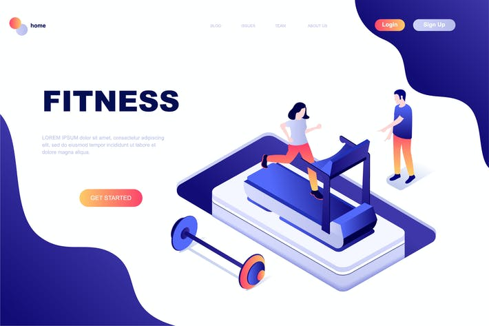 Thumbnail for Fitness Isometric Landing Page Template