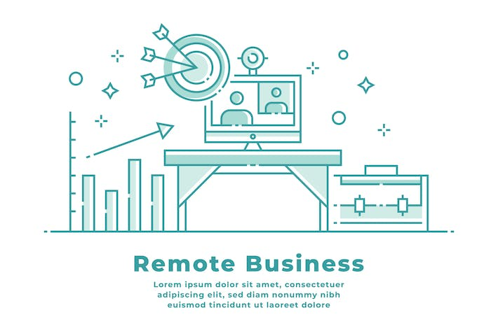 Thumbnail for Remote Business and Work-Linear Illustration