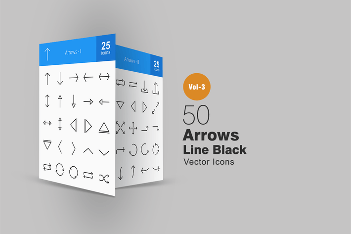 Thumbnail for 50 Arrows Line Icons