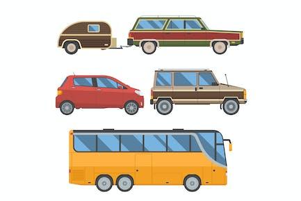 Auto Trip Transport and Travel Vehicles Set