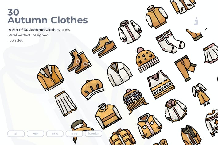 Thumbnail for 30 Autumn Clothes Icons