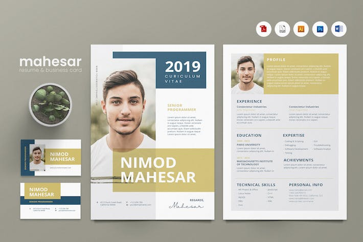 Thumbnail for Creative CV Resume & Name Card PSD, DOCX, AI No.24