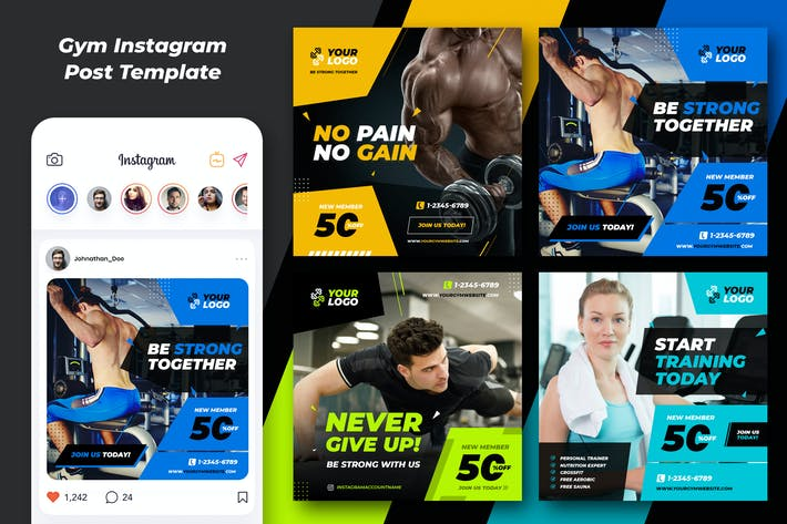 Thumbnail for Fitnes Gym Banner and Social Template