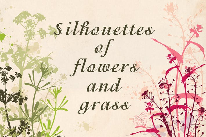 Thumbnail for Flowers and Grass Silhouettes
