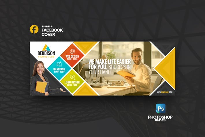 Thumbnail for Berdison Business FB Cover Photoshop Template