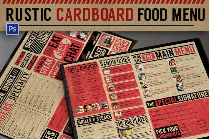 Cover Image For Rustic Cardboard Menu