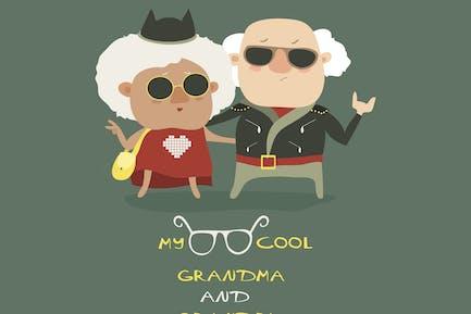 Cool grandma and grandpa wearing in leather jacket