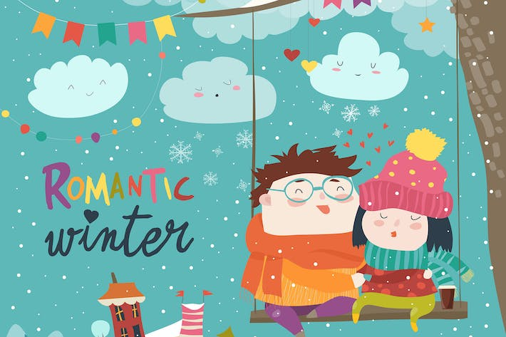 Thumbnail for Cute winter cartoon couple swinging. Vector