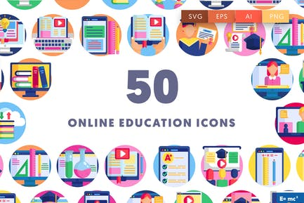 50 Icons für Online-Bildung