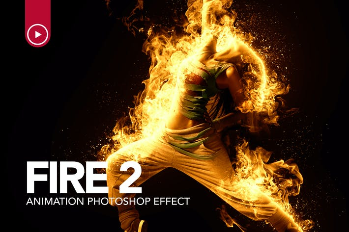 Cover Image For Fire Animation Photoshop Action version 2