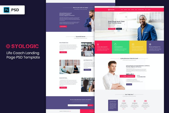 Thumbnail for Life Coach - Landing Page PSD Template