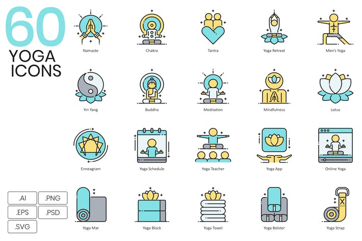 Thumbnail for 60 Yoga Exercise & Fitness Line Icons