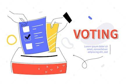 Voting - bunte flache Design-Stil WebBanner