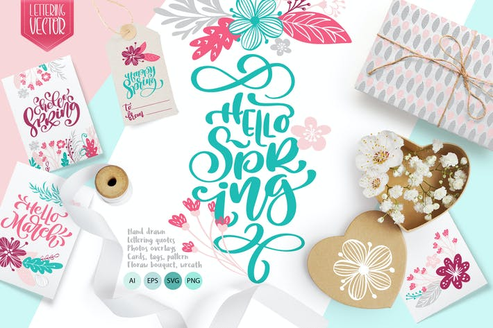 Thumbnail for Spring vector lettering & floral greeting card