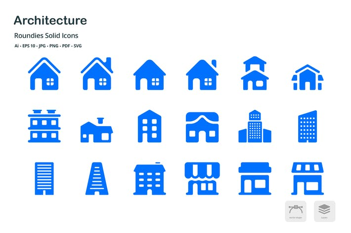 Thumbnail for Architecture Roundies Solid Glyph Icons