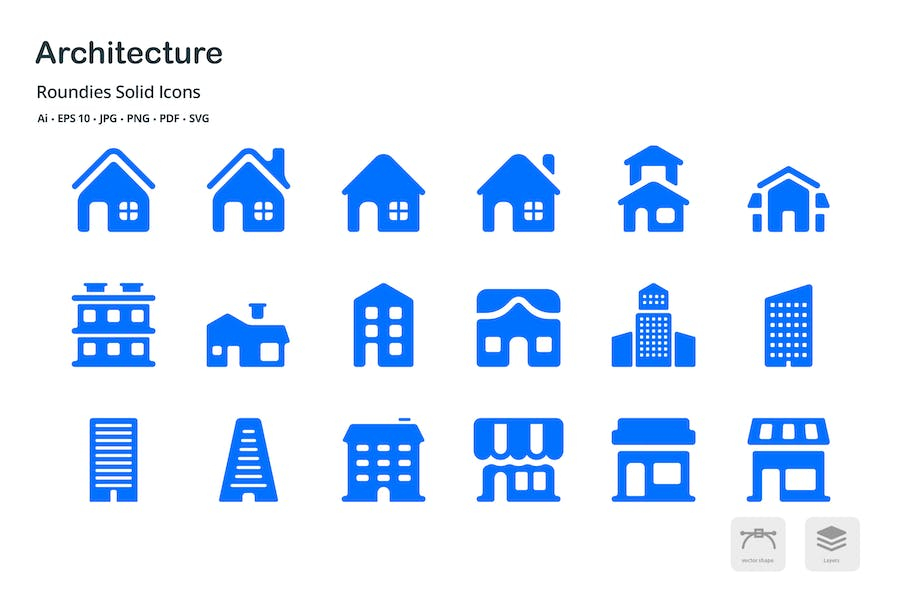 Architecture Roundies Solid Glyph Icons