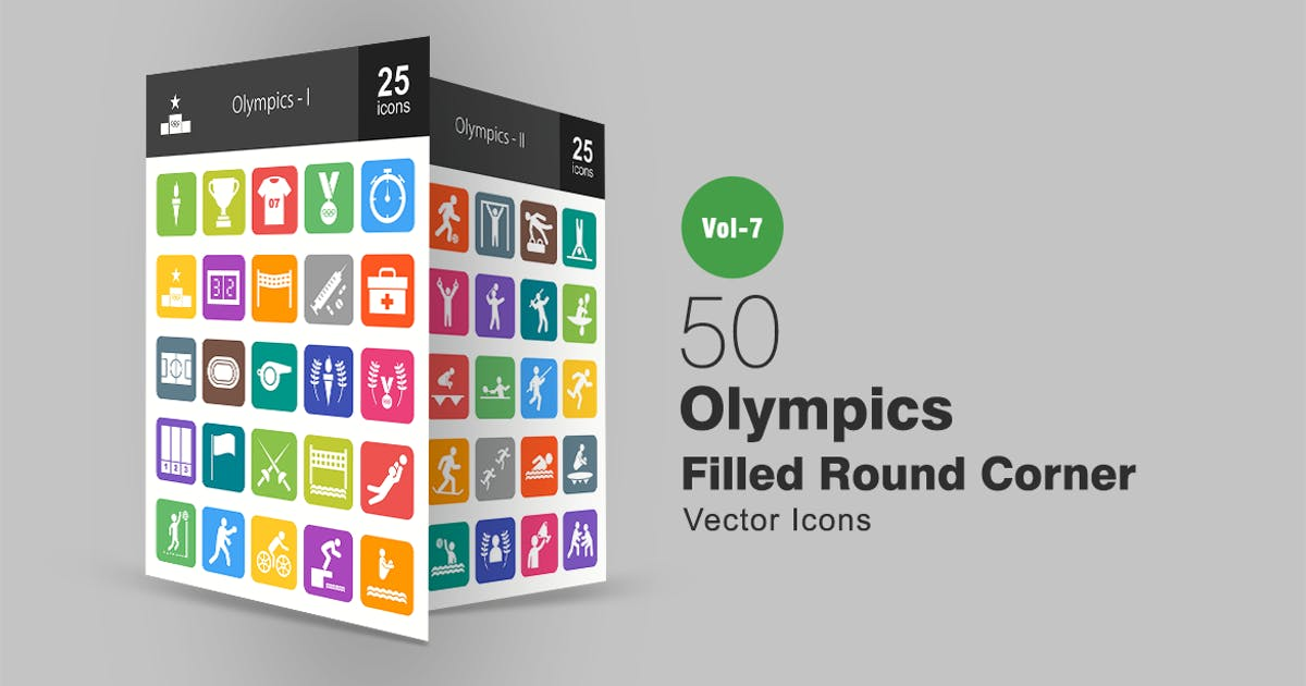 Download 50 Olympics Filled Round Corner Icons by Unknow